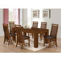 Albin Rustic Oak Dining Set With 6 Dark Brown PU Seat Chairs