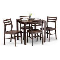 Hakan Dark Walnut Effect Dining Set With 4 Chairs