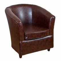 Infiniti Faux Tan Leather Bucket Tub Chair | DesignerSofas4U