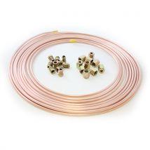 """25ft Brake Copper Pipe Tube 3/16"""" OD + 10 short male nut + 10 female nut"""