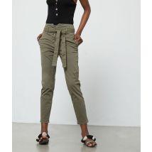 Pantalon carotte ceinturé à boutons - MILI BELT - 42 - Vert - Femme - Etam