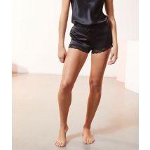 Pantalón corto de seda y encaje - MILKY - XL - Negro - Mujer - Etam