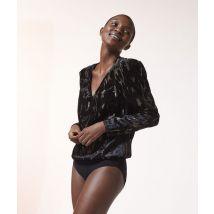 Body de terciopelo, mangas abullonadas - KENDA - XS - Negro - Mujer - Etam