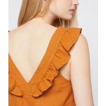 Top de espalda escotada con volantes - JASMINE - 44 - Marrón - Mujer - Etam