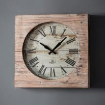 Nukes Vintage Wall Clock In Rustic Wood Finish