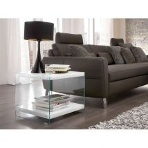 Olympic High Gloss Top Side Table With Side Glass Panels