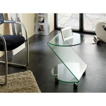 Matera Side Table In Clear Bent Glass With Wheels