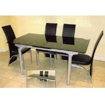 Z And S Extendable Dining Table In Black Glass