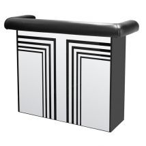 Manhattan Mirrored Bar Table With Faux Leather Arm Rest