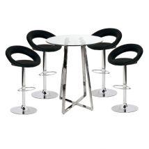 Poseur Glass Top Bar Table with 4 Leoni Black Bar Stools