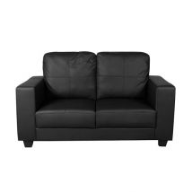 Queensland 2 Seater Sofa In Black Faux Leather
