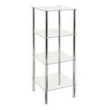 4 Tier Glass Display Unit In Clear With Chrome Supports