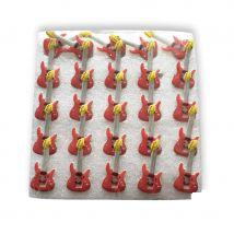 25 pins lumineux en forme de guitare rouge