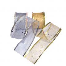 24 rouleaux de ruban à paillettes or et argent