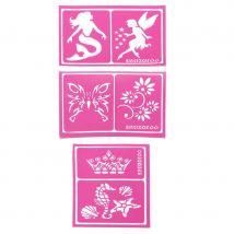 6 Pochoirs motifs filles de la marque Snazaroo