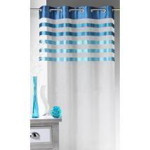 Voilage en Voile avec parement à rayures colorées - Bleu - Voile - Home Maison