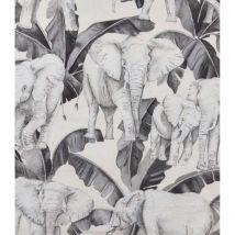 Tissu imprimé éléphants et feuillages - Gris - Coton - Home Maison