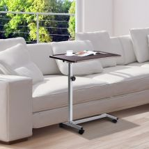 HOMCOM Multipurpose Overbed/Chair Table W/4 Castors-White/Brown