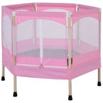 HOMCOM Kids Outdoor Trampoline w/ Safety Enclosure Net and Spring Pad Pink