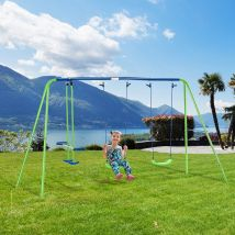 Outsunny Metal 2 Swings & Seesaw Set Height Adjustable Outdoor Play Set, Green