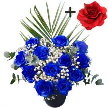 A single Red Silk Rose surrounded by 11 Blue Roses