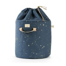 Prachtige grote bamboe opbergmand - gold stella/night blue