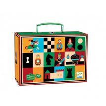 Schach- und Damespiel in schönem Koffer