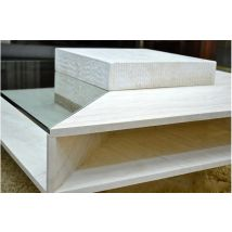 1000mm Square Marble Travertine Coffee Table - LOUVRE