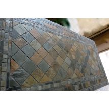 160-200-240cm Outdoor Garden Slate Stone Mosaic dining Table - MAPLE