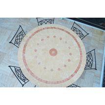 Table de jardin mosaique de marbre ronde 125-160cm - ALICANTE