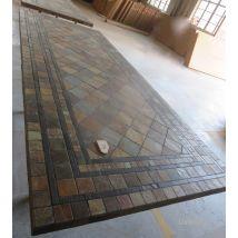 Table de jardin mosaique 160-200 en ardoise decorative - ERABLE