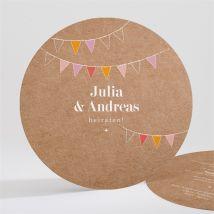 Einladungskarte Hochzeit Fahnen anpassbar - Farbe Beige Und Bunt - 13.5 cm - MeineKarten