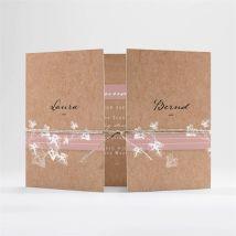 Einladungskarte Hochzeit Mit Efeu gebunden anpassbar - Farbe Rosa Und Beige, Braun Und Weiß - 14.5 x 10.5 cm (geschlossen) - MeineKarten