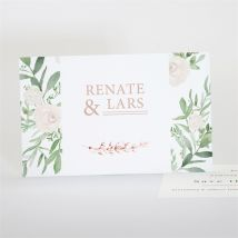 Save the Date Hochzeit Frühlingsrosen anpassbar - Farbe Rosa, Grün Und Weiß - 13.5 x 8.5 cm - MeineKarten