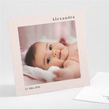 Geburtskarte Foto mit Rahmen anpassbar - Farbe Rosa Und Weiß - 9.5 x 9.5 cm - MeineKarten
