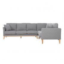 Canapé d'angle scandinave 5-6 places en tissu gris clair déhoussable OSLO Miliboo