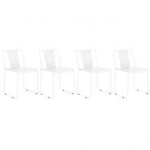 Lot de 4 chaises d'extérieur design métal blanc TENERIFE Miliboo