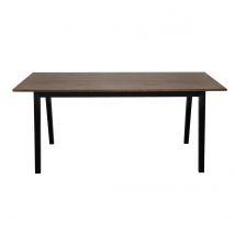 Table à manger fixe design noyer et noir mat NORMA Miliboo