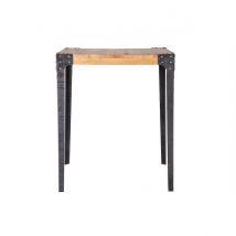 Table haute industrielle carrée en bois et métal MADISON Miliboo