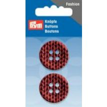 Prym Knitted Texture Print 4 Hole Round Buttons  Terracotta