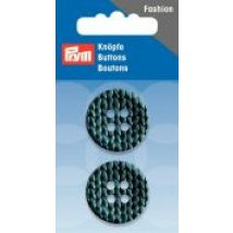 Prym Knitted Texture Print 4 Hole Round Buttons  Petrol Blue