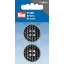 Prym Knitted Texture Print 4 Hole Round Buttons  Anthracite Grey