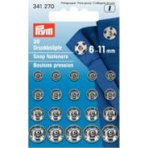 Prym Assorted Size Sew On Metal Snap Fasteners  Silver