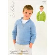 Sublime Boys Sweater & Cardigan Egyptian Cotton Knitting Pattern 6078  DK