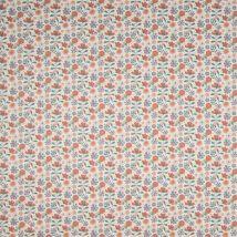 Tissu Popeline Coton Bio Petites Fleurs Orange - Mondial Tissus