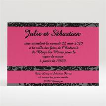 Carton d'invitation mariage Cachemire noir et gris personnalisable - 11 x 7,5 cm - Monfairepart