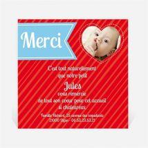 Remerciement naissance Lui en coeur et en photos personnalisable - 9,5 x 9,5 cm - Monfairepart