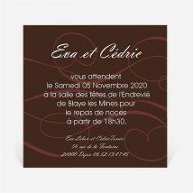 Carton d'invitation mariage Symboles d'Amour personnalisable - Romantique - Couleur Marron - 9,5 x 9,5 cm - Monfairepart