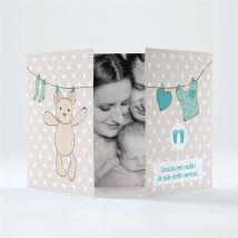 Faire-part naissance File à linge mignon personnalisable - 14,5 x 10,5 cm fermé - Monfairepart