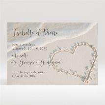 Carton d'invitation mariage Dans le Sable personnalisable - Romantique/Voyage - Couleur Beige - 11 x 7,5 cm - Monfairepart